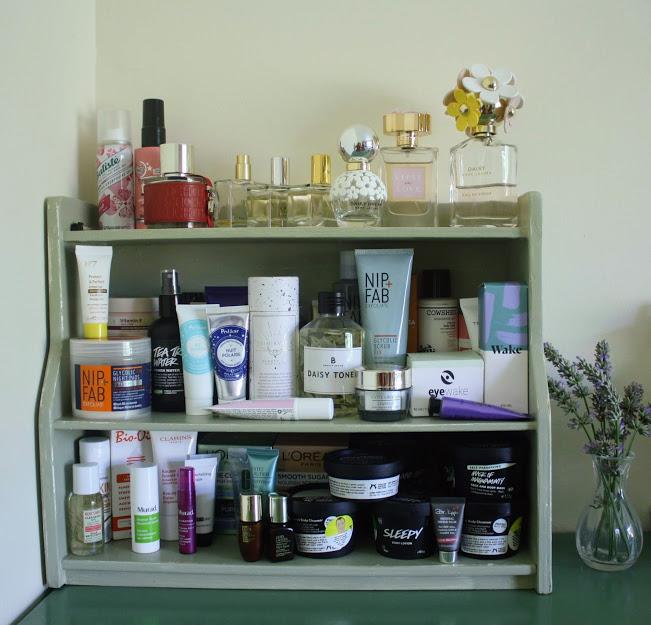 shelf full of skincare products