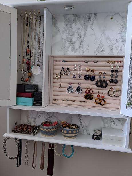 inside a jewlery cabinet