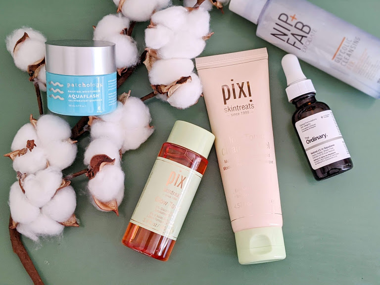 products next to a cotton branch
