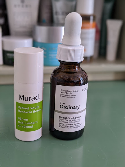 two bottles of retinol